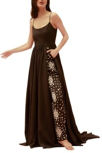 Black twill maxi dress with embroidered pants