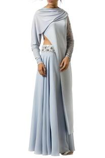 Ice blue draped sleeve lehenga set