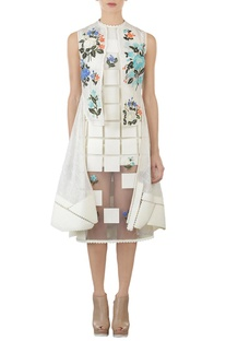 Ivory floral square applique high low jacket