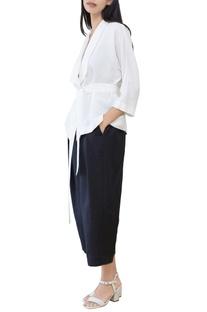 Black kimono tie-up top