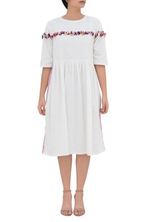 Embroidered midi dress with side pockets
