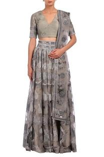 Grey mirror embroidered tie & dye lehenga set