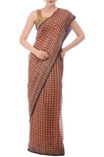 Burnt orange & navy plaid linen sari