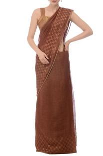 Cocoa brown linen jamdani sari