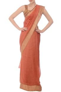 Dusky peach & orange tree motif linen sari