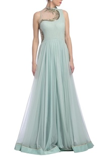 Ice blue embellished flared draped gown