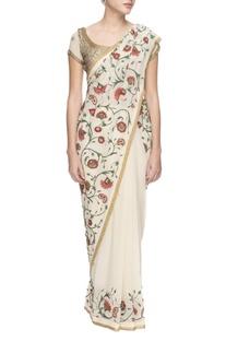 White chiffon floral thread work &sequin sari with blouse
