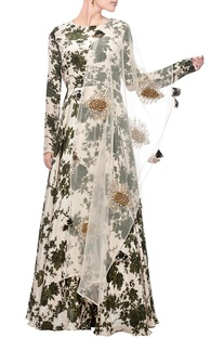 Ivory & moss green floral printed anarkali with dupatta