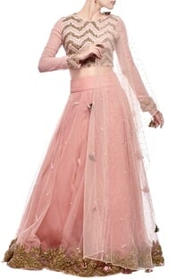 Blush pink leaf embroidered lehenga set