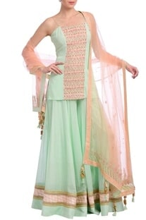 Mint & peach  embellished kurta set