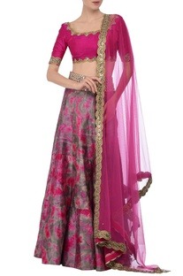 Fuschia & grey tie dye mirror embroidered lehenga set