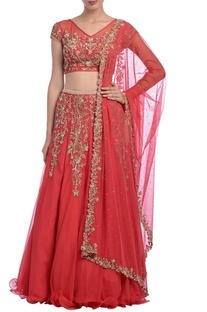 Coral pink embroidered lehenga set