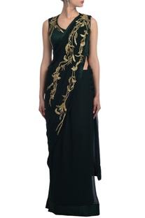 Deep green & gold embellished sari