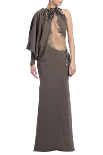 Grey embellished & draped one sleeved gown