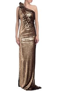 Gold & black sequin embellished one shoulder gown