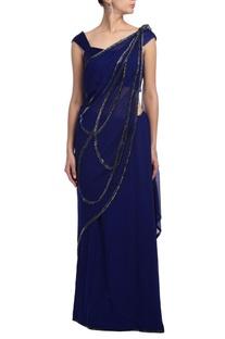 Peacock blue embroidered sari