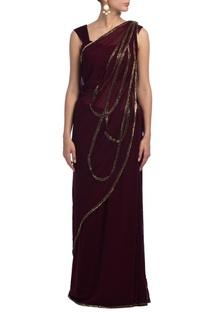 Wine embroidered sari set