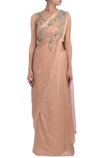 Peachy pink embellished sari set