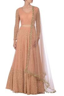 Pale pink sequin embellished lehenga set