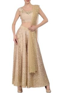 Soft beige & gold sequin embellished palazzo set