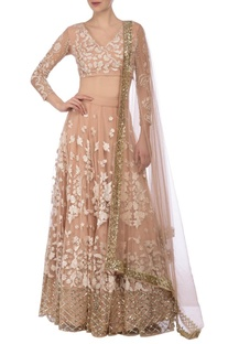 Nude & ivory floral embroidered lehenga set.