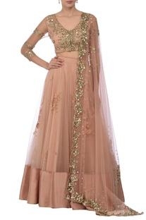 Blush pink floral sequin embellished lehenga set