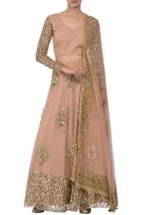 Blush pink & gold sequin floral embellished lehenga set