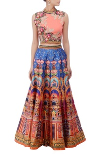 Peachy pink embroidered lehenga set