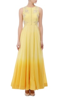 Lemon yellow shaded floral embroidered anarkali set