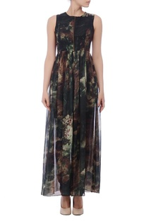 Black, brown & green floral printed zippered tunic