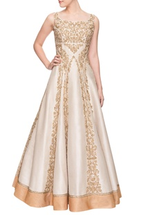 Champagne & gold embroidered gown