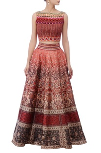 Red & multcolored embellished lehenga set