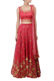 Coral red & gold floral zardozi embroidered lehenga set