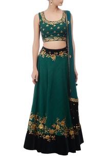 Emerald & gold floral embroidered lehenga set