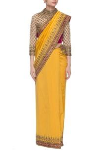 Yellow & dark pink embroidered sari