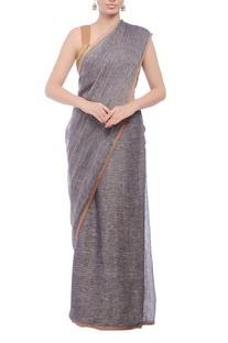 Grey textured handwoven sari
