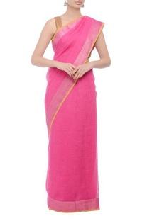 Pink herringbone handwoven sari