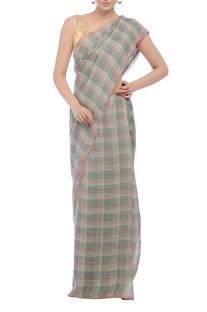 Teal plaid handwoven sari