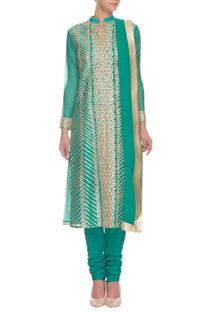 Deep seagreen & gold gota floral embroidered kurta set