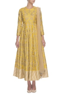 Canary yellow & gold floral embroidered anarkali set