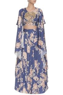 Blue & peach floral printed & embroidered lehenga set