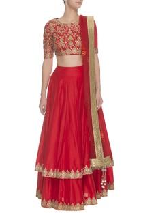 Crimson & gold floral embroidered lehenga set