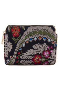 Black floral zari threadwork purse