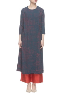 Navy blue layered long kurta