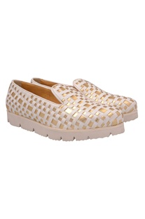 White & gold basket weave slip on shoes