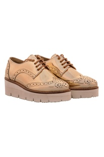 Dull gold shoes with cutwork details