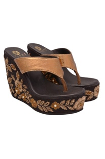 Copper & gold floral sequin work wedges