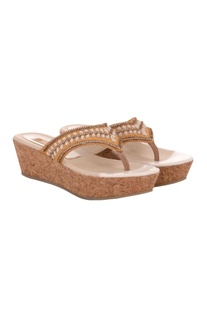 Cream & beige bead work wedge sandals