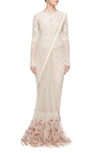 Ivory fishtail embellished sari gown
