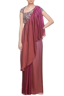 Burgundy two toned draped sari & embroidered blouse